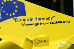 Message from Bahrain on the Jordan engine covers for this race: 'Europe in Harmony'