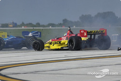 Justin Wilson after his collision with Paul Tracy