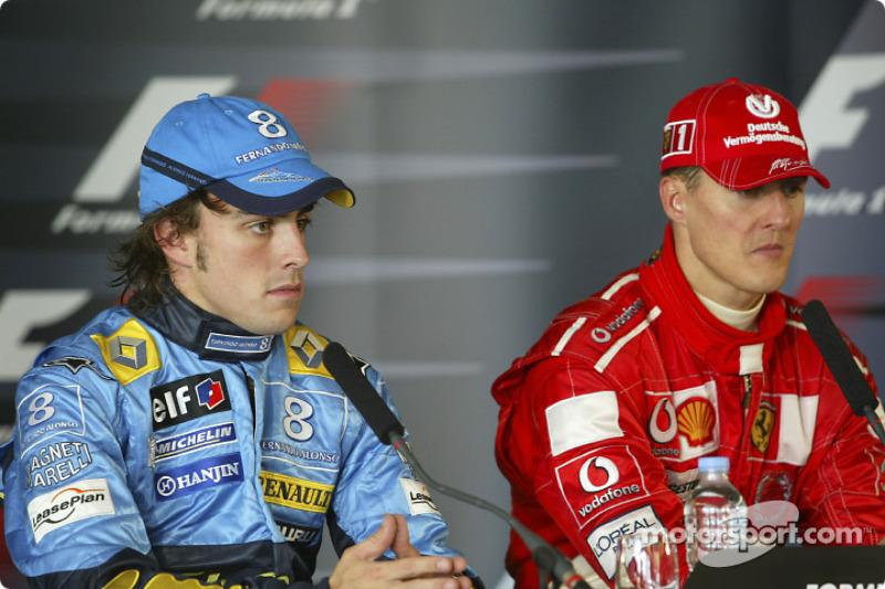 Прес-конференція: переможець гонки Міхаель Шумахер та Фернандо Алонсо