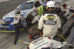 Jimmie Johnson's team gives the #48 four tires and gas
