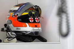 The helmet of Nico Hulkenberg, Williams F1 Team with England sun glasses on
