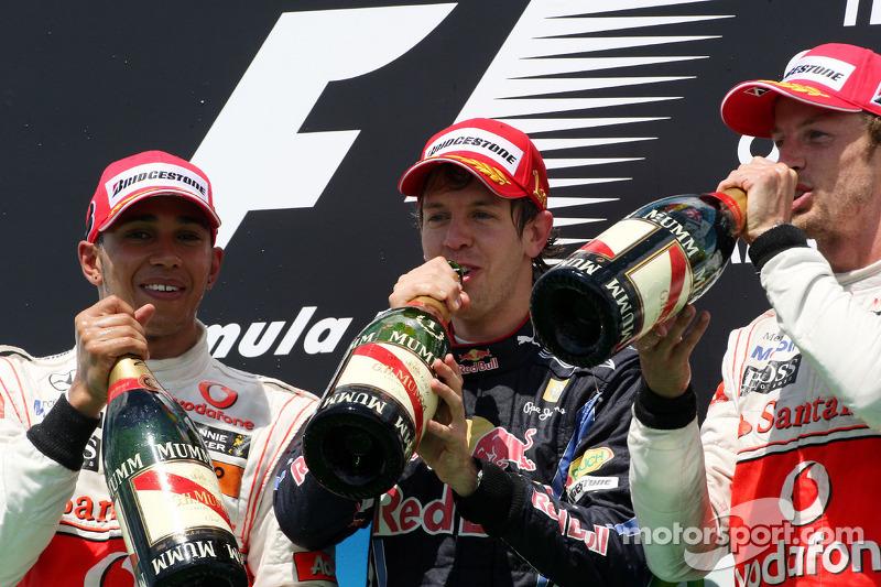 2010: 1. Sebastian Vettel, 2. Lewis Hamilton, 3. Jenson Button