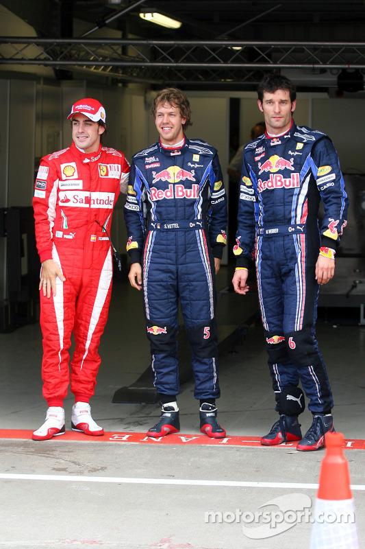 Polepositie Sebastian Vettel, Red Bull Racing, 2de Mark Webber, Red Bull Racing en 3de Fernando Alonso, Scuderia Ferrari