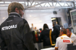 Nick Heidfeld, Test Driver, Mercedes Grand Prix talking with Renault key people in the Renaul motorhome