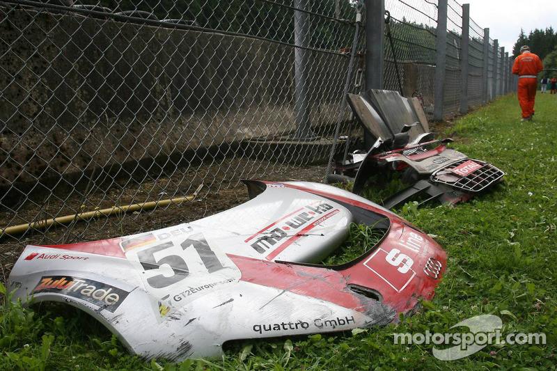 Car parts of #51 Phoenix Racing Audi R8 LMS GT3: Alexenros Margaritis, Marc Hennerici, Andrea Piccini, Henri Moser