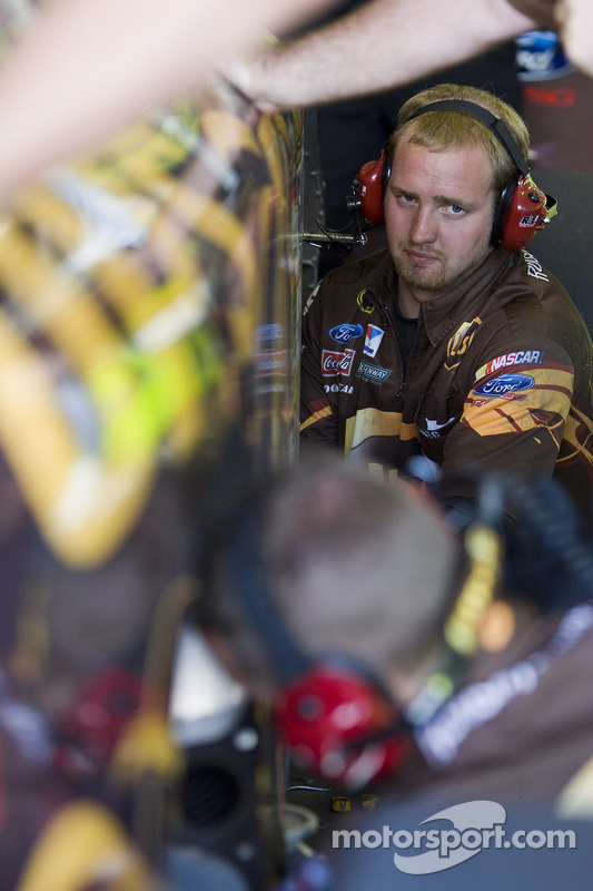 Roush Fenway Racing Ford team member at work