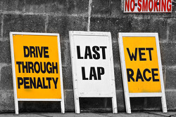 Signs at the end of the pitlane