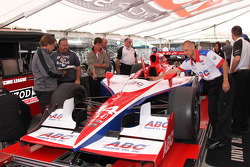 Car of Vitor Meira, A.J. Foyt Enterprises at technical inspection