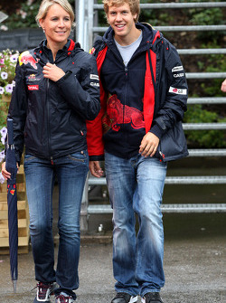 Britta Roeske with Sebastian Vettel, Red Bull Racing