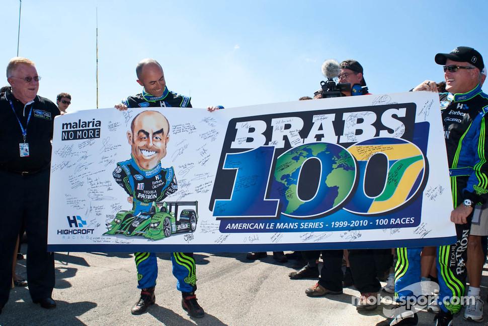 David Brabham, Duncan Dayton and Don Panoz honoring Brabs 100th ALMS start, 2010