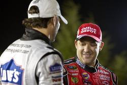 Victory lane: race winner Tony Stewart, Stewart-Haas Racing Chevrolet celebrates with Jimmie Johnson