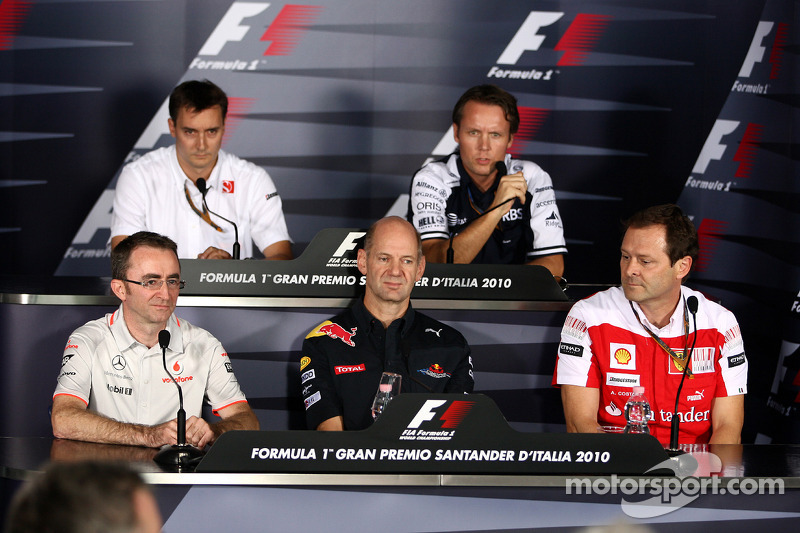 Friday press conference: Paddy Lowe, McLaren Engineering Director, James Key, BMW Sauber F1 Team, Adrian Newey, Red Bull Racing, Technical Operations Director, Sam Michael, Williams F1 Team, Technical director, Aldo Costa, Scuderia Ferrari