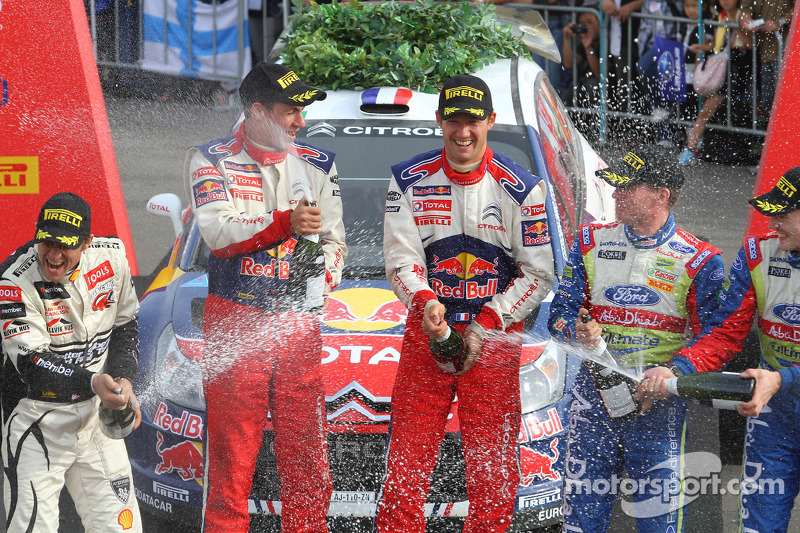 Podium: winners Sébastien Ogier and Julien Ingrassia