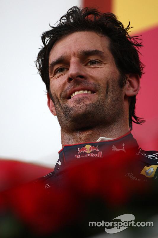 Podium: deuxième place pour Mark Webber, Red Bull Racing