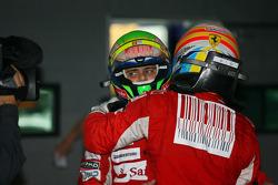 Race winnaar Fernando Alonso, Scuderia Ferrari, derde Felipe Massa, Scuderia Ferrari