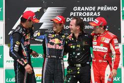 Podium: race winner Sebastian Vettel, Red Bull Racing, second place Mark Webber, Red Bull Racing, third place Fernando Alonso, Scuderia Ferrari, with Christian Horner, Red Bull Racing, Sporting Director