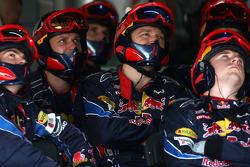 Red Bull Racing mechanic watch the race