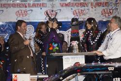 Victory lane: race winner Denny Hamlin, Joe Gibbs Racing Toyota celebrates
