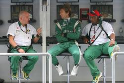 Mike Gascoyne, Lotus F1 Team, Chief Technical Officer with Jarno Trulli, Lotus F1 Team and Tony Fernandes, Lotus F1 Team, Team Principal