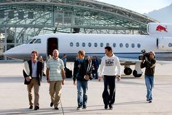 Team principal Christian Horner, chief technical officer Adrian Newey, Sebastian Vettel and Mark Webber