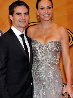 NASCAR driver Jeff Gordon and his wife Ingrid Vandebosch attend the NASCAR Sprint Cup Series awards banquet at the Wynn Las Vegas Hotel