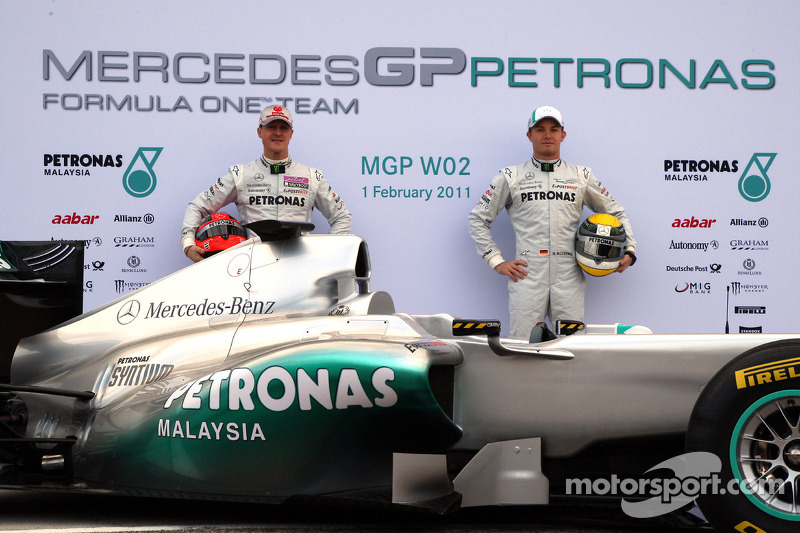 Michael Schumacher, Mercedes GP F1 Team and Nico Rosberg, Mercedes GP F1 Team