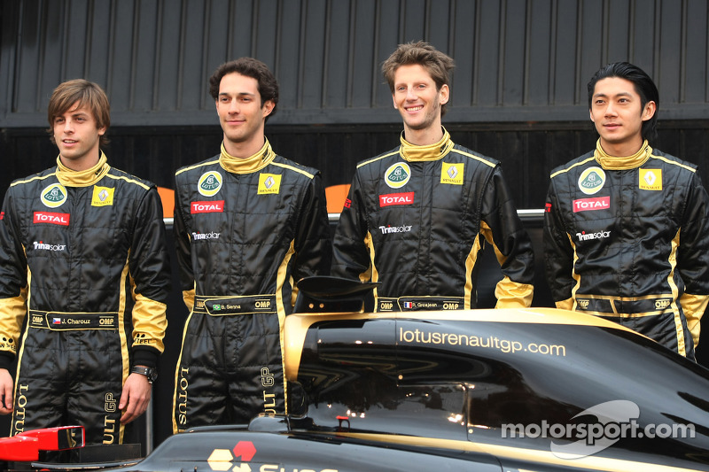 Jan Charouz, test driver, Lotus Renault GP, Bruno Senna, test driver, Lotus Renault and Romain Grosjean, test driver, Lotus Renault GP and Ho Pin Tung, test driver, Lotus Renault GP