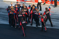 Wood Brothers Racing Ford team members celebrate