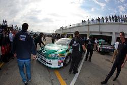 The backup car of Dale Earnhardt Jr., Hendrick Motorsports Chevrolet is taken out of the hauler after a crash