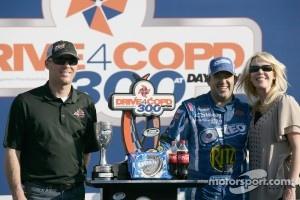 Victory lane: race winner Tony Stewart, Kevin Harvick Inc. Chevrolet celebrates with Kevin and Delana Harvick at Daytona in February 2011