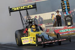 Morgan Lucas doing a burnout in his Geico Powersports / Lucas Oil Top fuel Dragster