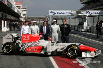 The HRT Formula One team last week at Barcelona