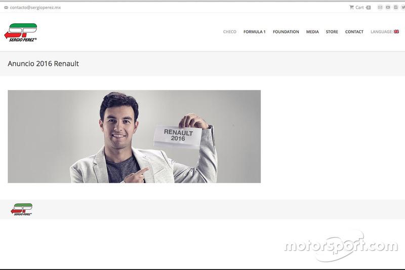 Screenshot von der Homepage von Sergio Perez