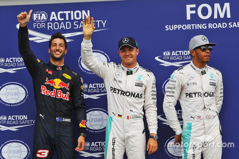 Polesitter Nico Rosberg, 2. Lewis Hamilton, 3. Daniel Ricciardo