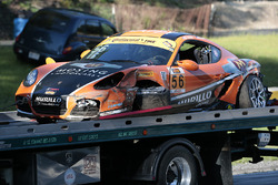 #56 Murillo Racing Porsche Cayman: Jeff Mosing, Eric Foss after a crash
