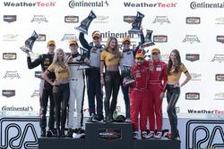 GTD podium: winners Jeroen Bleekemolen, Ben Keating, Riley Motorsports, second place Patrick Lindsey, Jörg Bergmeister, Park Place Motorsports, third place Christina Nielsen, Alessandro Balzan, Scuderia Corsa