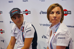 (L to R): Felipe Massa, Williams and Claire Williams, Williams Deputy Team Principal. Felipe announces his retirement from F1 at the end of the season