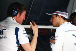 (L to R): Rob Smedley, Williams Head of Vehicle Performance with Felipe Massa, Williams