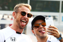(L to R): Jenson Button, McLaren with Felipe Massa, Williams on the drivers parade
