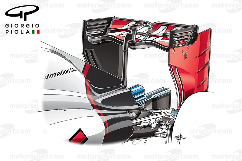 Haas VF-16 rear wing, Italian GP