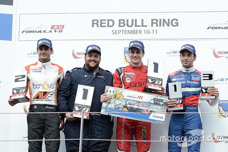 Podium : le vainqueur Aurelien Panis, Arden Motorsport, le deuxième Tom Dillmann, AVF, le troisième Matevos Isaakyan, SMP Racing