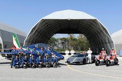 Andrea Dovizioso, Ducati Team, Michele Pirro, Ducati Team con le Frecce Tricolori