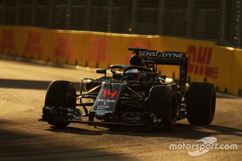 Fernando Alonso, McLaren MP4-31 con la cubierta de cabina Halo