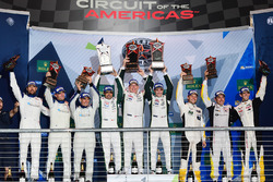LM GTE Am podium: first place Paul Dalla Lana, Pedro Lamy, Mathias Lauda, Aston Martin Racing, second place Christian Ried, Wolf Henzler, Joël Camathias, KCMG, third place Ricky Taylor, Lars Viljoen, Pierre Ragues, Larbre Competition