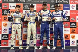 Polesitters GT500 #19 Team Wedssport Bandoh Lexus RC F: Yuhi Sekiguchi, Yuji Kunimoto and polesitters GT300 #25 Team Tsuchiya Toyota MC86: Takeshi Tsuchiya, Takamitsu Matsui