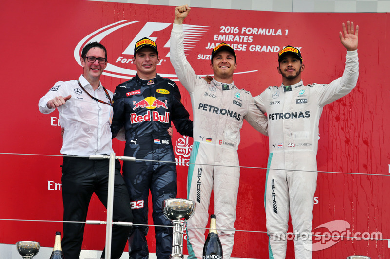 2016: 1. Nico Rosberg, 2. Max Verstappen, 3. Lewis Hamilton