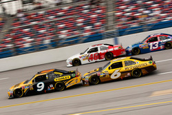 Marcos Ambrose, Petty Motorsport Ford, David Ragan, Roush Fenway Racing Ford, J.J. Yeley, Whitney Motorsport Chevrolet and Casey Mears, Germain Racing Toyota