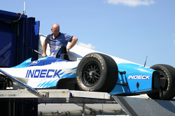 Forsythe Racing crew member unpacks car