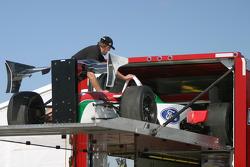 HVM crew members unload the transporter