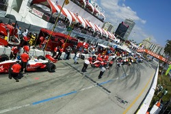 Cars line up on pitlane for qualifying